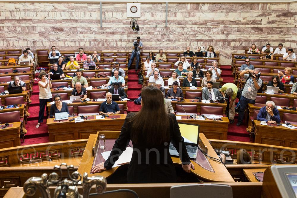 Zoe Konstantopoulou. Bericht der Wahrheitskommission über die öffentlichen Schulden Griechenlands. Foto: Giovanni Lo Curto
